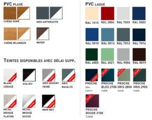 couleurs fenetres pvc gamme Cybel