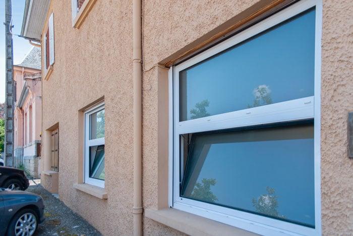 Vue extérieure de la fenêtre et porte-fenêtre Alu