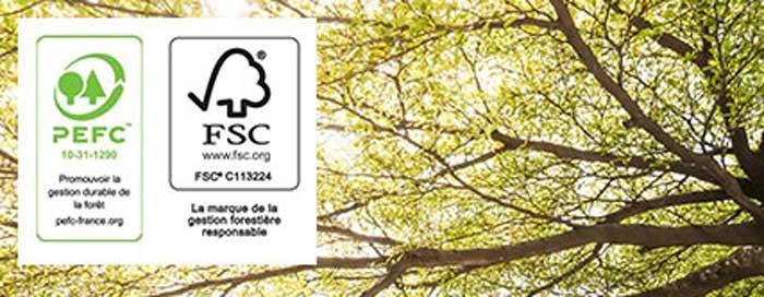 100% de nos bois proviennent de forêts gérées de façon responsable
