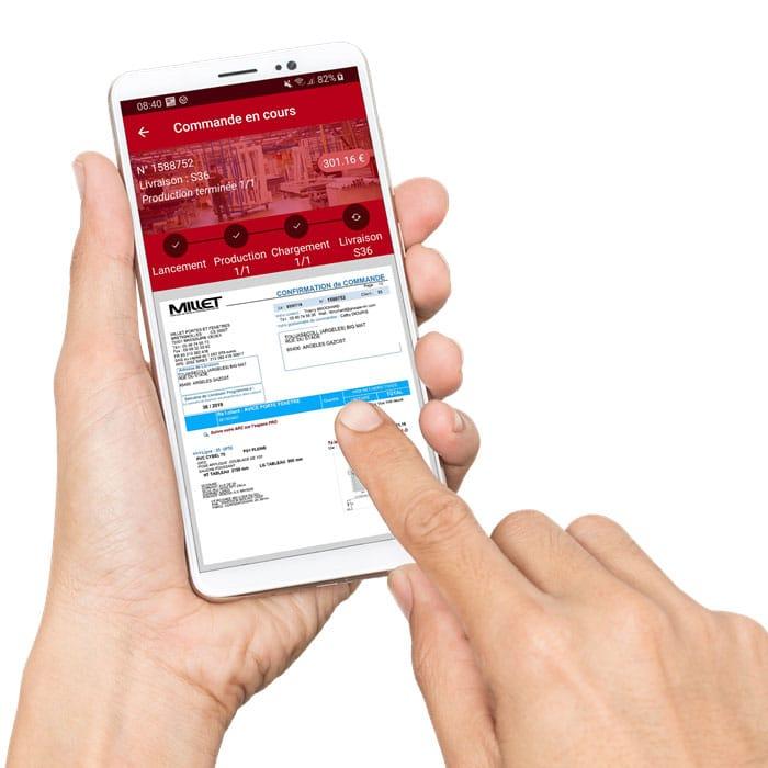 Application M-Connect - écran commandes en cours